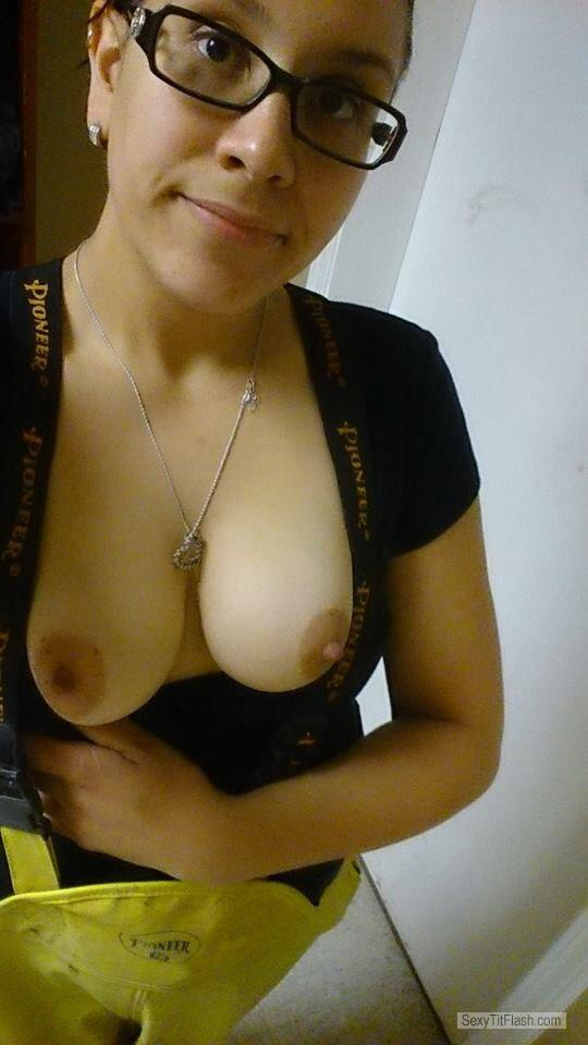Tit Flash: Ex-Girlfriend's Medium Tits (Selfie) - Topless Caroline from Canada